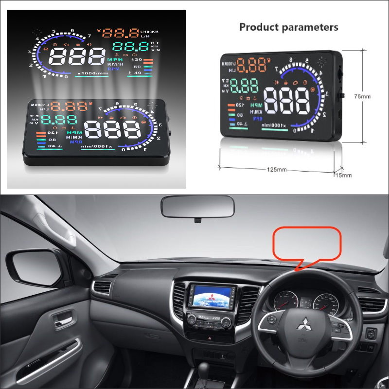 Carro HUD Cabeça Up Display Para Mitsubishi Mirage 2015 Triton 2016-Safe Driving Projetor De Tela Refkecting Brisa