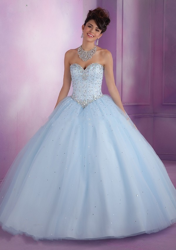 f7e2583e455 Ball Gown Puffy Sweetheart Beaded Corset Quinceanera Dresses Vestidos De Quinceanera  Dress Pink Baby Blue And Light Blue-in Quinceanera Dresses from ...