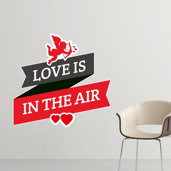 Valentine S Day Love Is In The Air Image With Banner Heart And Angel