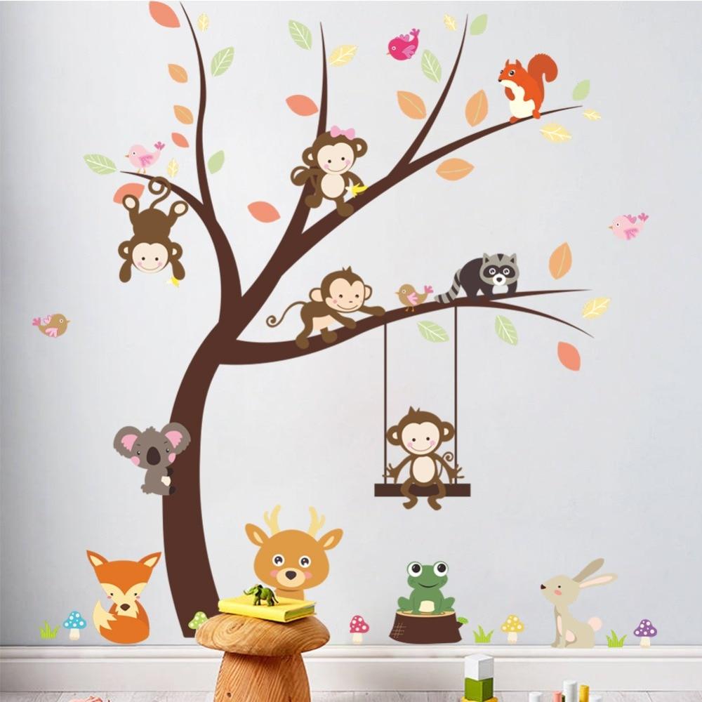 Amp Cartoon Forest Monkey Bird Fox Tree Wall Stickers