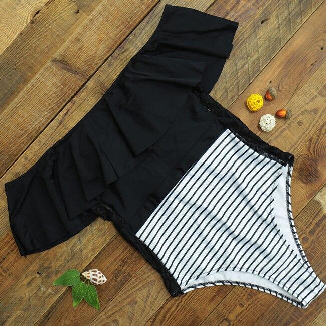 2019 Sexy Ruffle Women Swimwear One Piece Swimsuit Push Up Monokini Bodysuit Print Swim Suit Bathing Suit Beach Wear Summer