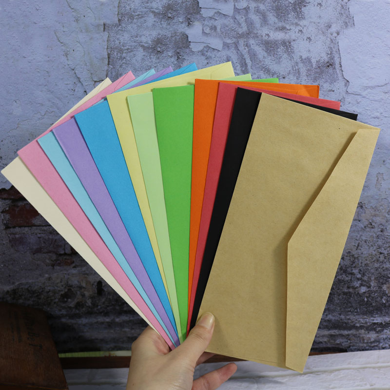 12 Color Envelopes 12pcs Blank Paper Bag Postcard Greeting Card Gift Wedding Invitation Envelope Card Package Envelope 22x10.5cm