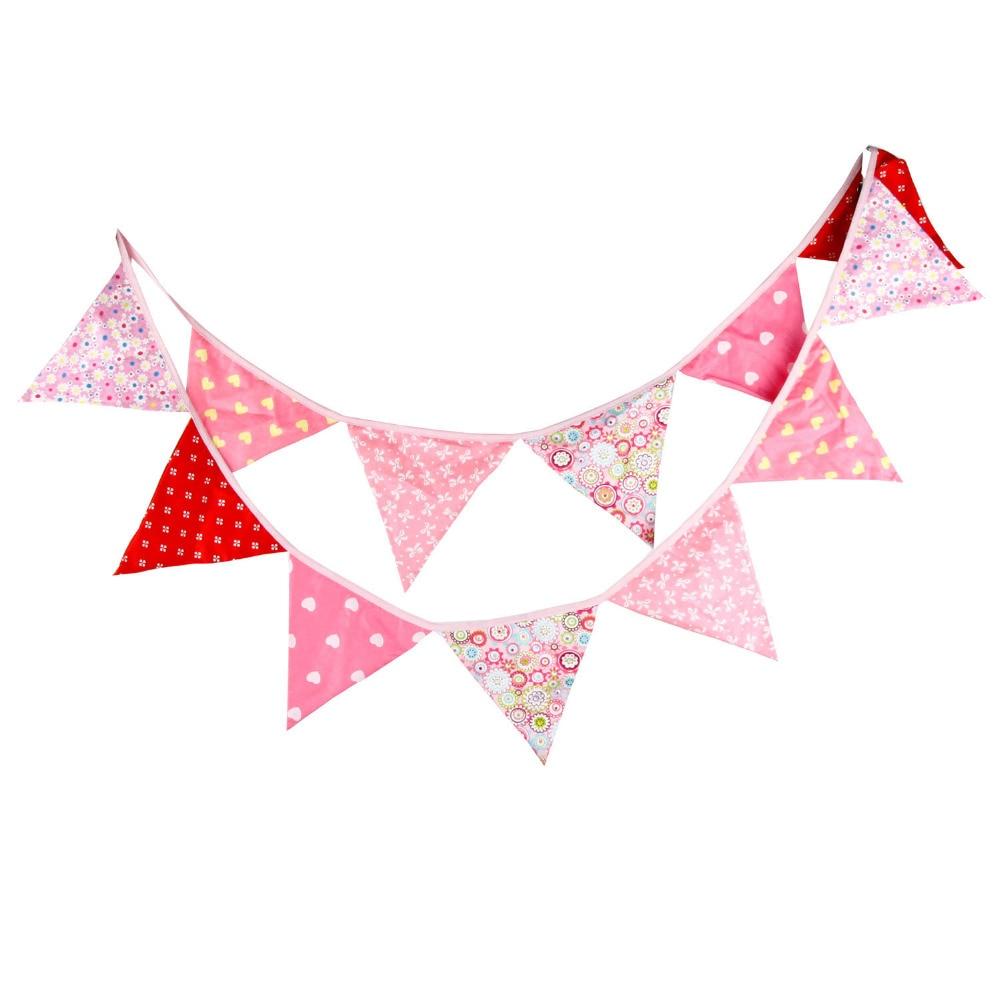 ②1 unids 3.3 M 12 banderas Rosa corazón decoración del hogar Telas ...