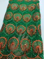 2017 Latest Green High Quality Nigerian French Lace African Lace Fabric For Party Dress With Stone