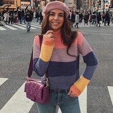 цена Fitshinling Rainbow Stripes Women's Turtleneck Sweaters Pullovers Korean Style Knitted Female Sweater Long Sleeve Jumper Pulls
