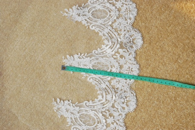 3 meters lace cathedral wedding veil long lace flower appliques edge ivory color bridal veil for church wedding