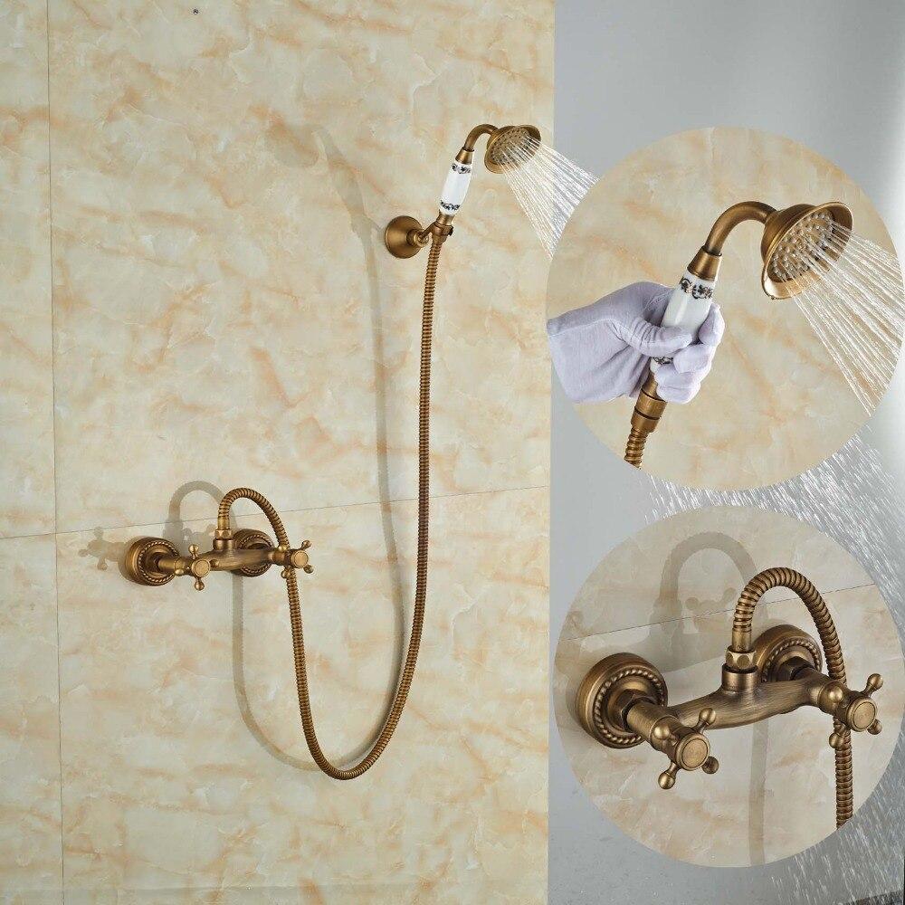 ⓪Dual Cross Handles Ceramic Bathroom Shower Faucet with Hand Held ...