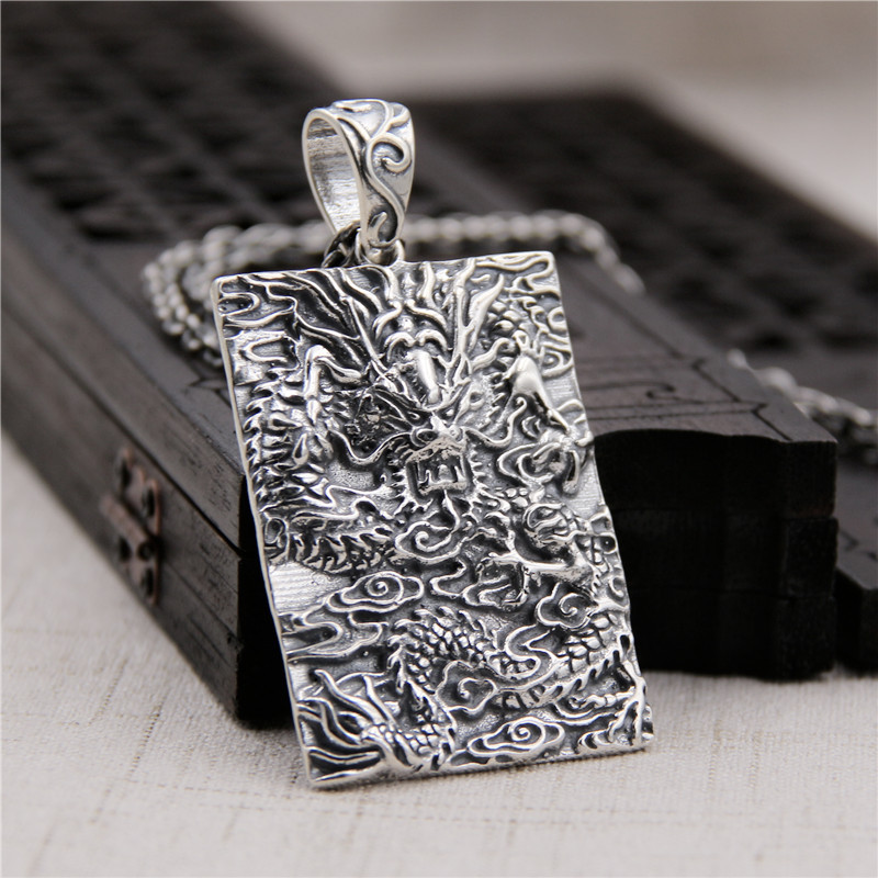 Здесь продается  Silverware S925 Sterling Silver Retro Thai Silver Domineering Personality Pendant Chinese Dragon Tag Pendant  Ювелирные изделия и часы