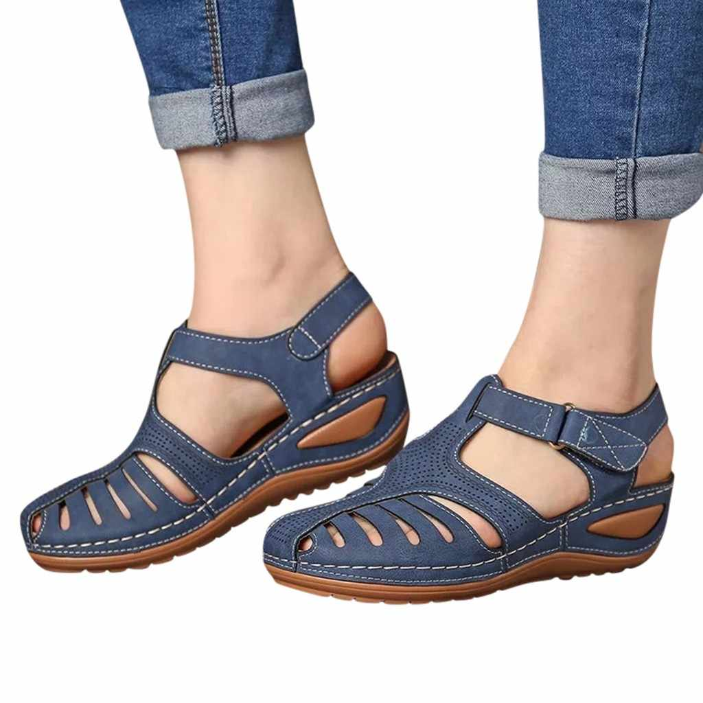 2019 NEW summer sandals women flat Ladies Comfortable Ankle Hollow Round Toe Sandals Soft Sole Shoes sandalias mujer 2019