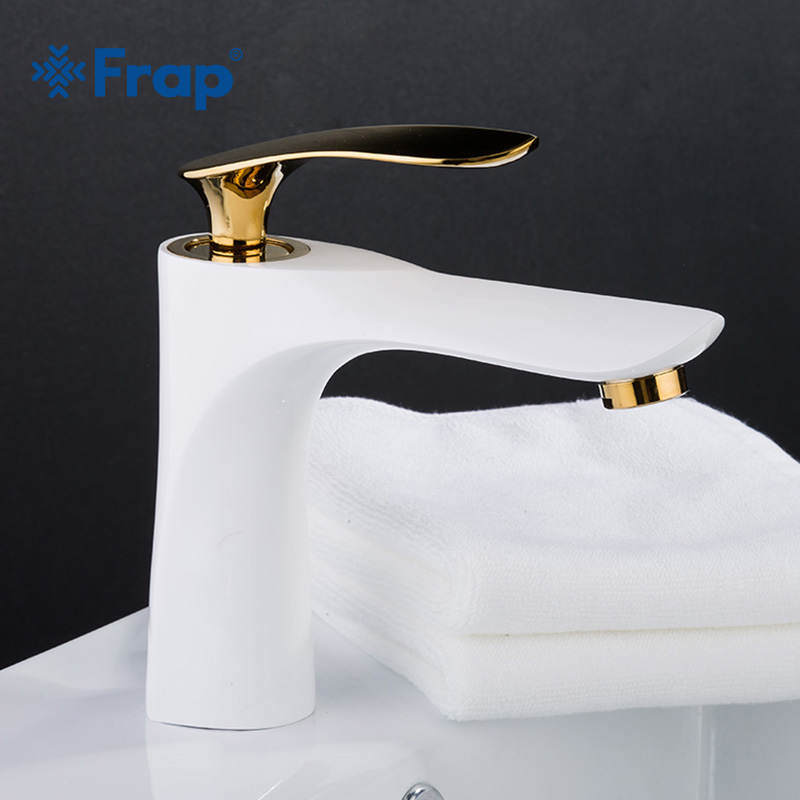 FRAP Gold White Painting Faucet Basin Sink Tap Single Handle Basin Mixer Tap Hot and Cold Water Deck Mounted Basin Tap Y10055FRAP Gold White Painting Faucet Basin Sink Tap Single Handle Basin Mixer Tap Hot and Cold Water Deck Mounted Basin Tap Y10055