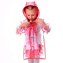 Children Raincoat EVA Transparent Clear Plastic Rainwear Hooded Outdoor Touring Rain Coat For Child