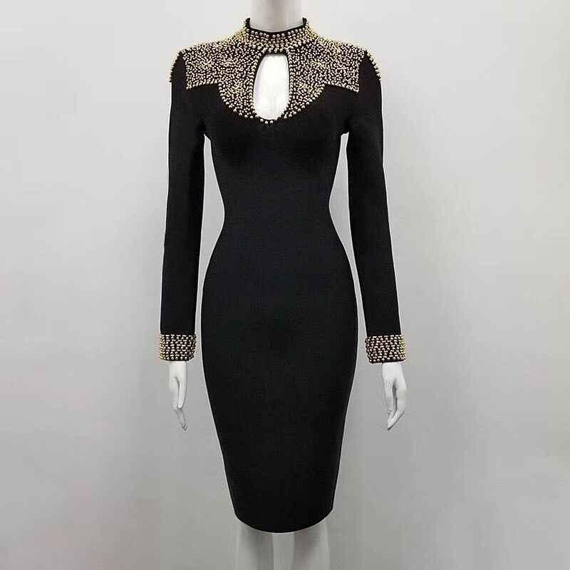 Alta qualidade 2017 novo vestido de inverno das mulheres por atacado Vestido preto frisado vestido bandage vestido de festa dropshipping + terno