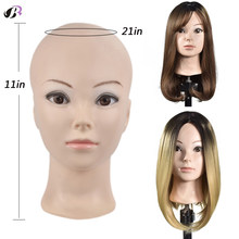 Bald Mannequin Head For Making Wigs With Stand 21 Inch Rubber Training Mannequin Head No Hair For Hats Display Makeup Practice(China)
