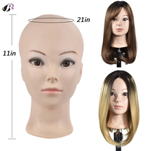 Bald Mannequin Head For Making Wigs With Stand 21 Inch Rubber Training Mannequin Head No Hair For Hats Display Makeup Practice
