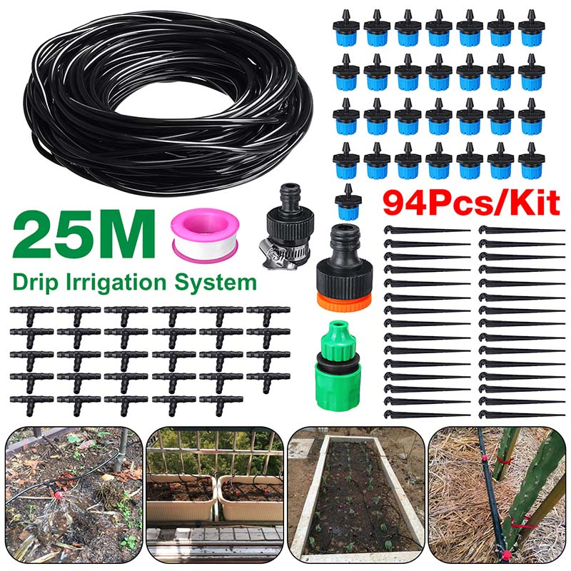 94Pcs/set 25m Automatic Micro Drip Irrigation System Garden Irrigation Spray Self Watering Kits With 30 Adjustable Dripper