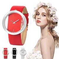 Watch Women Luxury Unique Hollow Skeleton Lady Wrist Watches Lucky Red Leather Quartz Casual Stylish Dress relogio feminino Gift