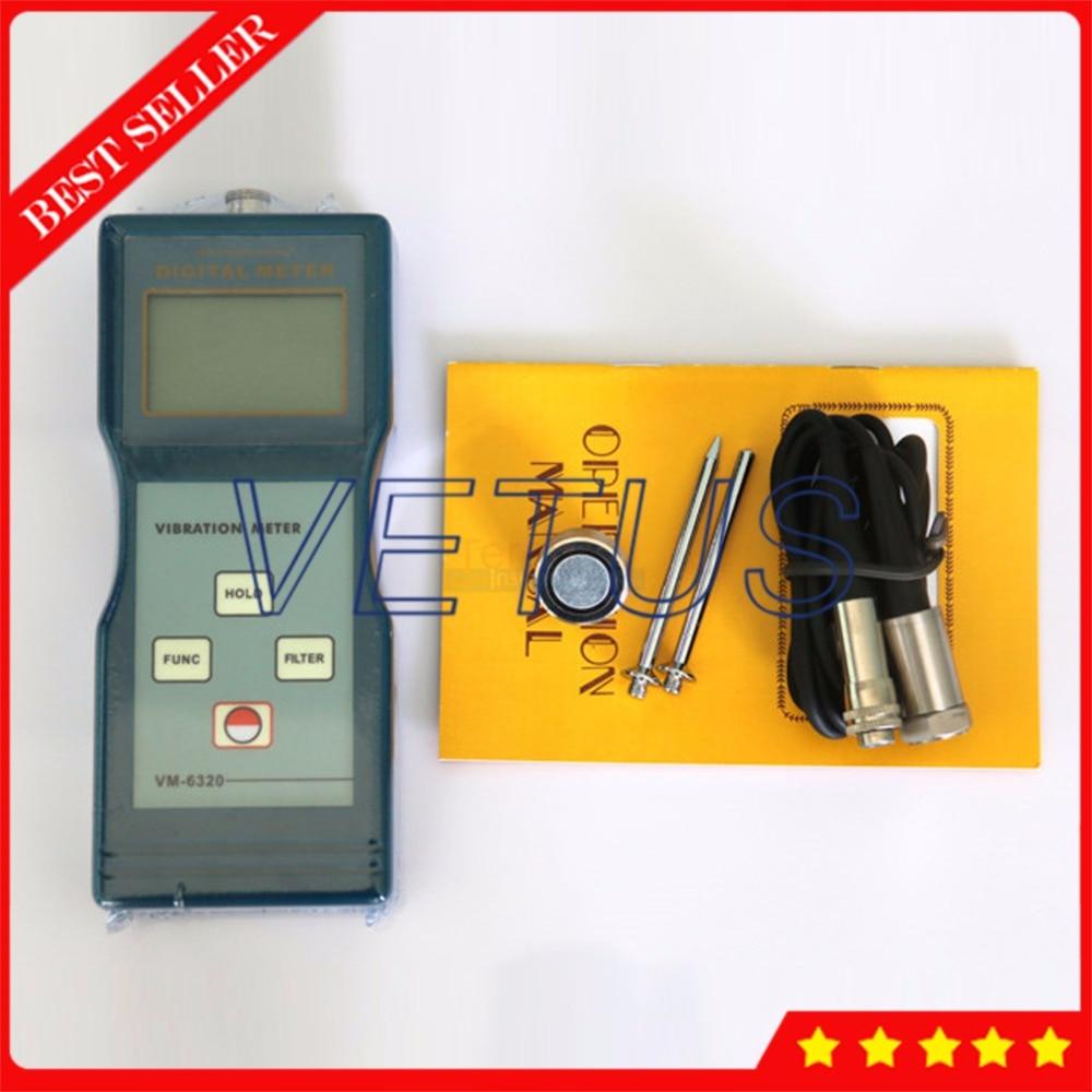 VM 6320 Portable Piezoelectric Transducer Vibrometer Meter Vibration Analyzer with Digital Tester vibration measuring instrument