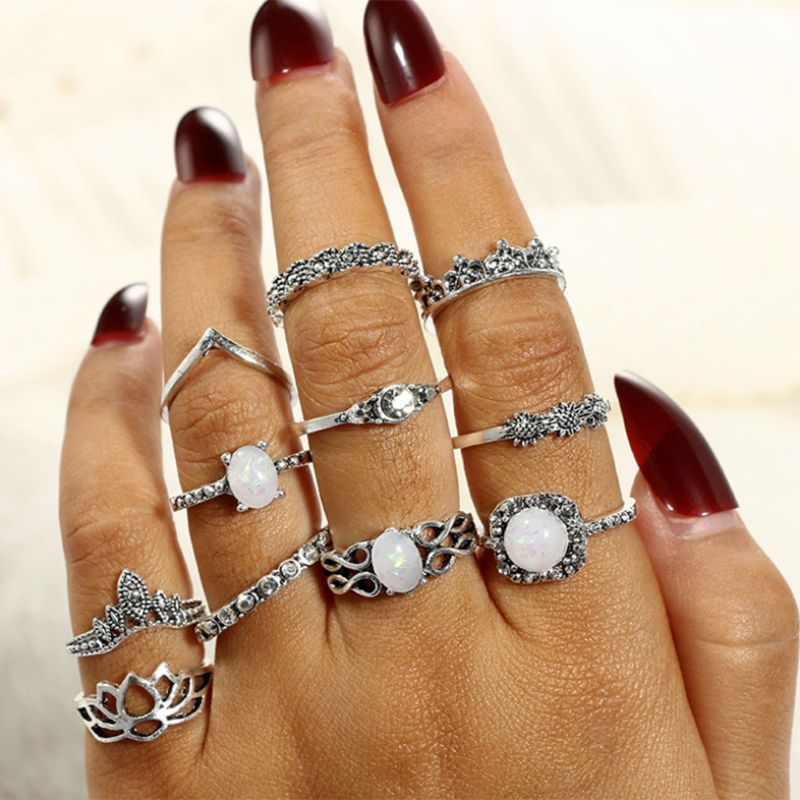 11 Pcs/set Knuckle Ring White Stone Floral Antique Retro Vintage Fashion Women Jewelry European Charms Decoration Gifts Crown Ri Complete In Specifications