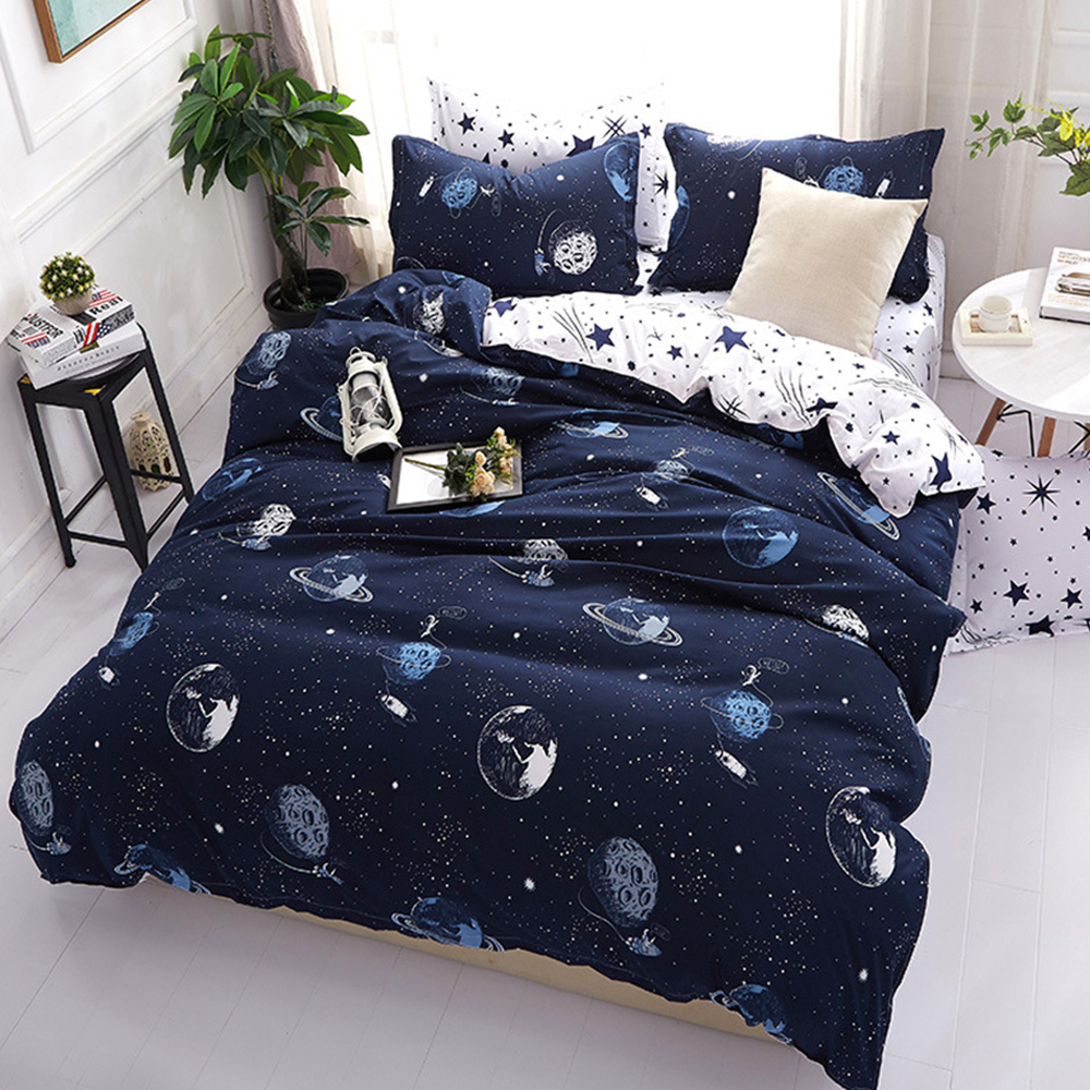 Plain Duvet Quilt Cover Bed Cover For Comforter Bedding Sets Family Adults Children cotton satin Quilted bed sheet Pillowcase