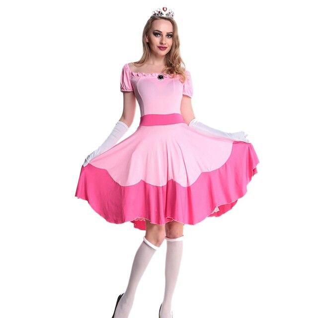 Nieve traje blanco Halloween adulto Rosa princesa vestido para las ...