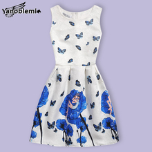 Girls Brand Dress Children Cute Cartoon Character Flowers Butterfly Print Vest Dresses Kids Teenage Princess Casual Costumes