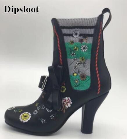 Dipsloot Mujer Y Calcetines Arranque Chunky Botines Tacones Vestido As Embellecido Flor Slip Bordado 2017 on Pictures Caliente Pictures Zapatos Moda as 0w1Igq0r