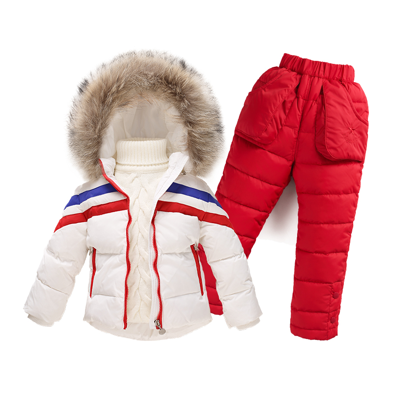 New 2016 boys girls warm coat clothing set Natural white duck down children suit jacket + pants snowsuit for 1-4 years kids