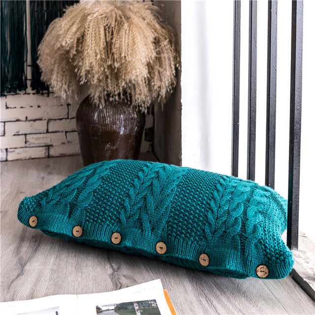 Teal Rectangle Knit Cushion  5