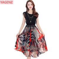 YAGENZ Womens Chiffon Beach Dresses Long section Slim Plus size Summer Dress Young lady O Neck Plant printing Pullover Dress 941