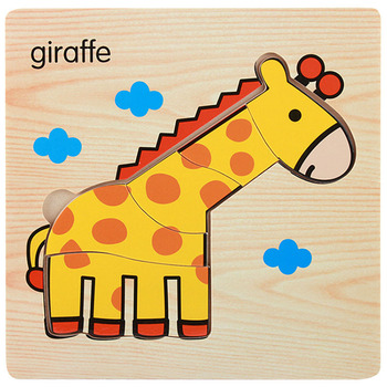 1Pcs Cartoon Wooden Animal and Transportation 3d Puzzle Jigsaw Wooden Toys For Intelligence Kids Baby Early Educational Toy Puzzles