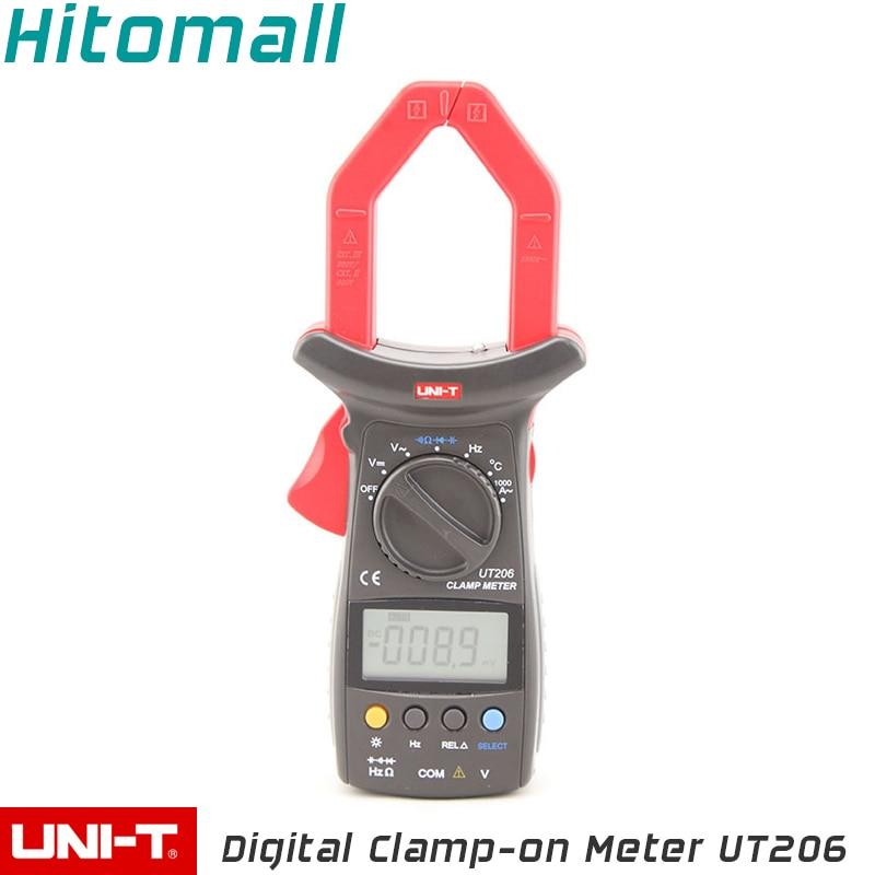 Professional UNI-T Digital Clamp Multimeters Auto Range Temperature 1000A 600V Clamp Meter Unit Ammeter Voltmeter UT206 youlide uni t ut205a digital multimeters digital clamp meter digital clamp meter