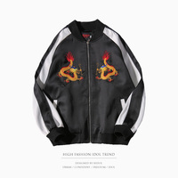 Yokosuka Jacket Bomber Military Souvenir Jacket Spliced Embroidery Dragon Zipper Baseball Coat Black Brand Clothing Men