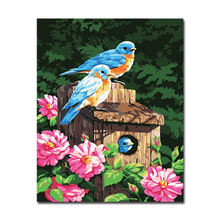 Pink Flowers And Wooden House Picture By Numbers DIY Bird Animal Painting Kits Hand painted Linen Canvas Home Decor Unique Gift