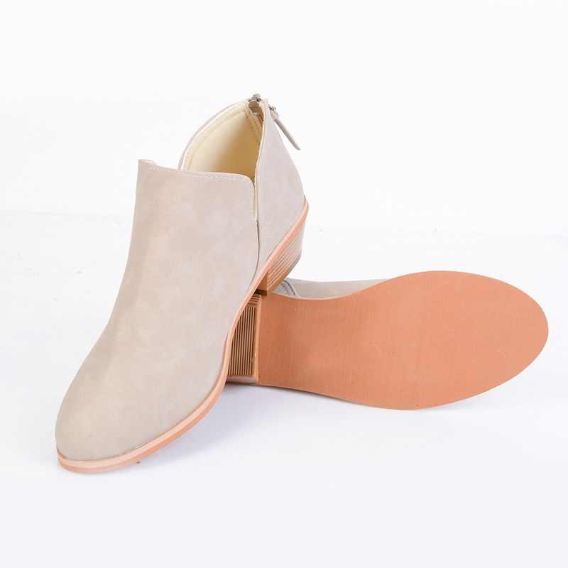 Novo outono tornozelo mulheres botas de salto quadrado deslizamento sobre feminino salto alto único sapatos apontou toe sapatos casuais senhoras