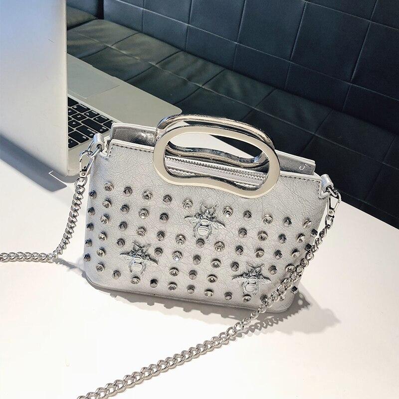Crossbody Bags For Women 2018 New Ladies Rivet Shoulder Bag Korean Style 3 Beetlet Bling Chain Handag Leather Mini Messenger Bag