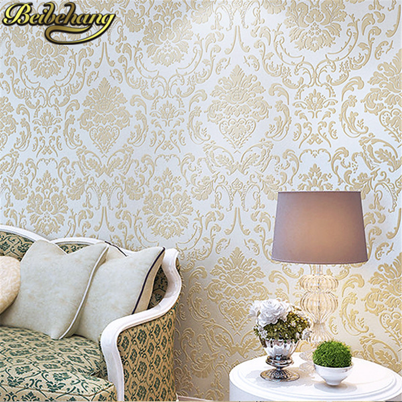 beibehang Wallpapers DAMASK Flower European Retro Vintage Wall Paper Roll for Living Room Home Decor White Blue papel parede 3D shinehome sunflower bloom retro wallpaper for 3d rooms walls wallpapers for 3 d living room home wall paper murals mural roll