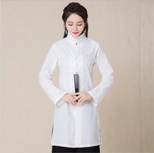 China  modified Tangsuit folk Dress Kungfu Hanfu stand collar long sleeve hemp dress white cotton summer cloth