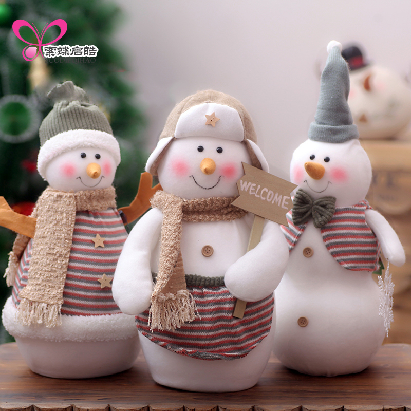 Christmas Snowman Desk Ornaments Christmas Decorations For Home With Cap Snowman Supplies Kerst Navidad Gift wholesale resin snowman family of 4 christmas ornaments personalized gifts that can write own name for holiday and home decor