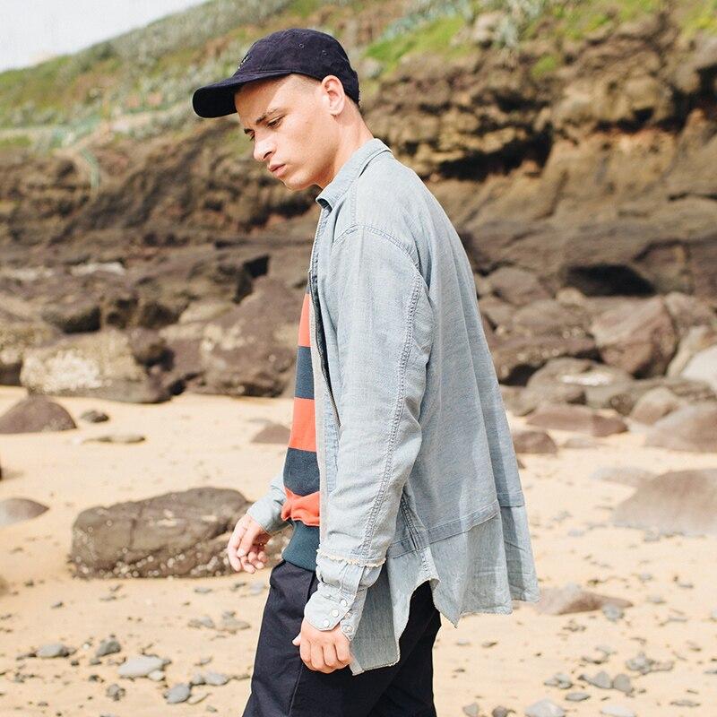 En Shirt Chemise Mâle À Manches Fermeture Longues Chaud Coton Blue Denim 100 Cc1813173 Vêtements Glissière Hommes Viishow Cool Automne Marque Bleu PABwnq7t