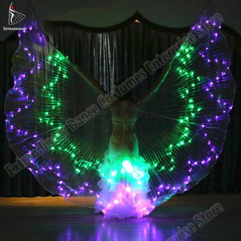 Новый женский танец живота Led крылья для танцев бабочка крыло лампа подсветки реквизит аксессуары 360 градусов Dodecagonal крыло 36 цветов
