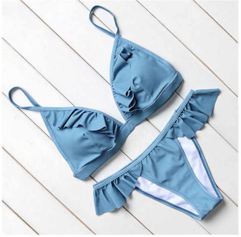 Sexy Femmes Volants Ensembles de Bikini Bandage Plage D'été Porter Des vêtements de natation Femelle 2 pièces Bikini Ensembles 2018 Nww Chaude
