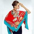130*130cm Fashion Poncho Square chain Horse spades K spain beach shawl women brand scarf scarves red blue yellow