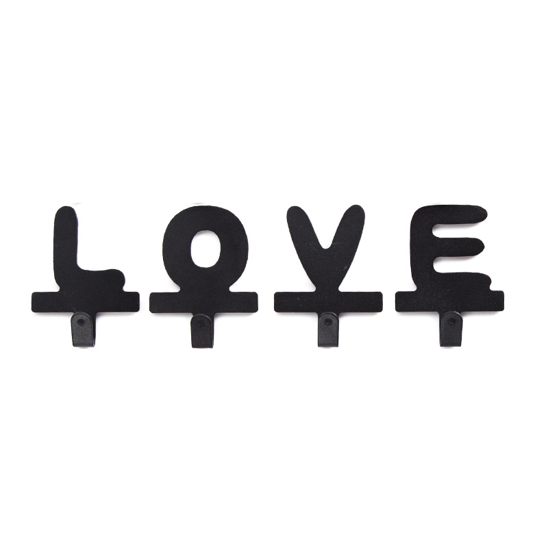 Home LOVE Letter Metal Adhesive Hook, DIY Cloth Hangr Iron Wall Hooks, Key Hanger Simple Steel Metal Hook Letters