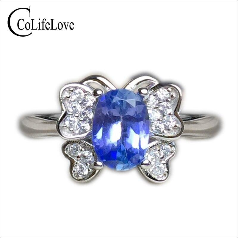 Модное серебряное кольцо с бабочкой 5 мм * 7 мм натуральный танзанит кольцо цельное 925 Серебро Танзанит кольцо романтический подарок на день
