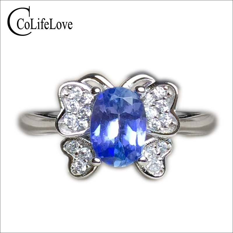 Fashion silver butterfly ring 5 mm*7 mm genuine tanzanite ring solid 925 silver tanzanite ring romantic birthday gift for woman vintage rivet hollowed butterfly ring for women page 7