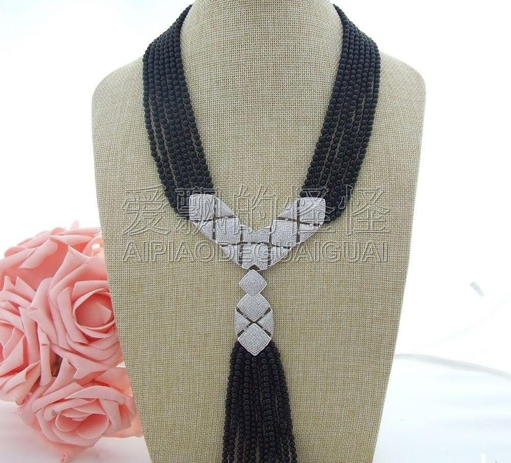 N071005 18-23 7 Strands Onyx Necklace CZ Pendant 20 23 7 strands green stone necklace cz pendant