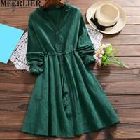 Mferlier Autumn Dress Green Cotton Linen Dresses SpliceV Neck Women Long Sleeve Tassel Drawstring Waist Jacquard Dress
