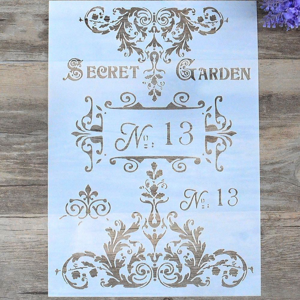 DIY Letter Lace Ancient Flower Spray Pattern Craft Layering Stencils Template For Walls Painting Scrapbooking Stamping Stencil