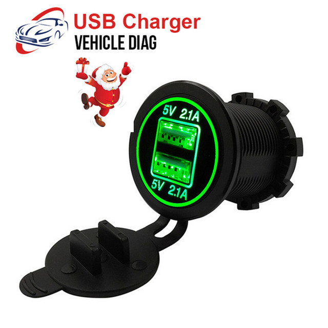 2018 USB Charger Cover for Motorcycle Auto Truck ATV Boat LED Car 4.2A Dual USB Socket 12-24V auto usb Charger Power Adapter