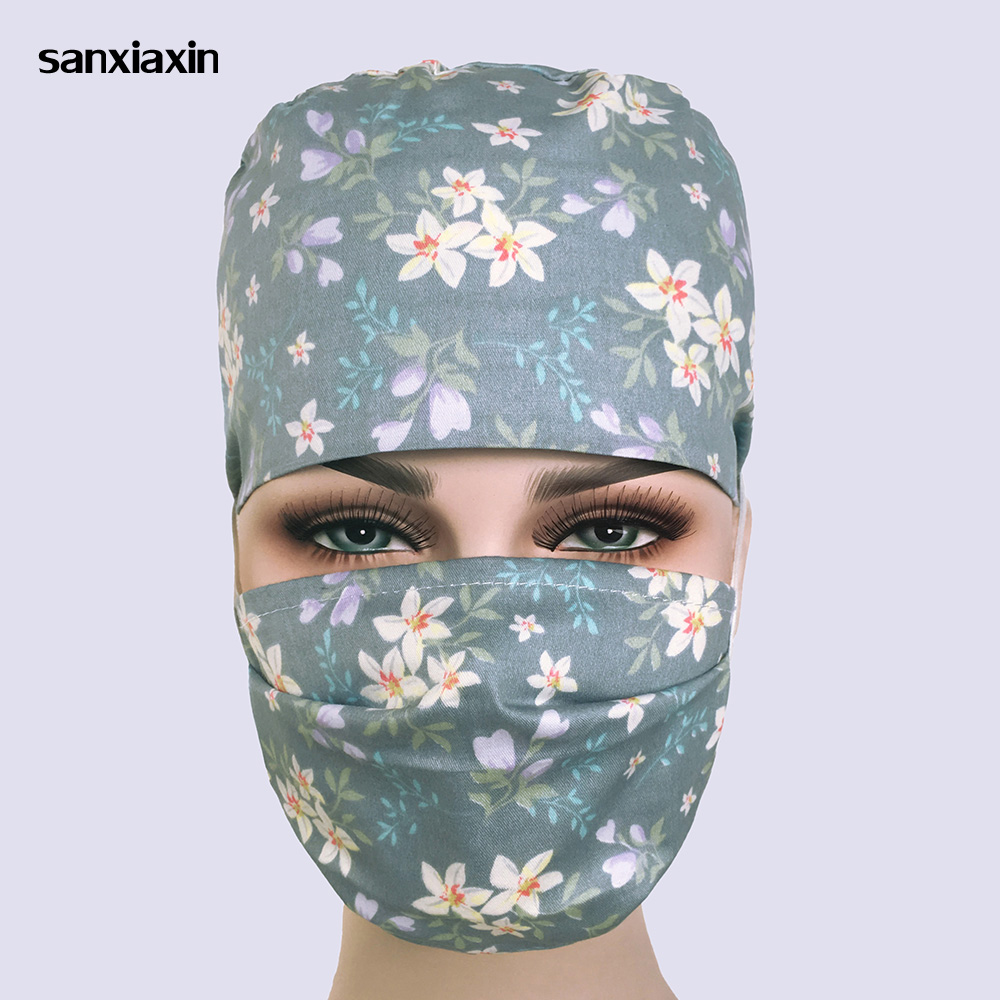 Sanxiaxin Cotton Scrub Nurse Cap For Women And Men Hospital Medical Hats Print Cat In Black Tieback Elastic Section Surgical Cap